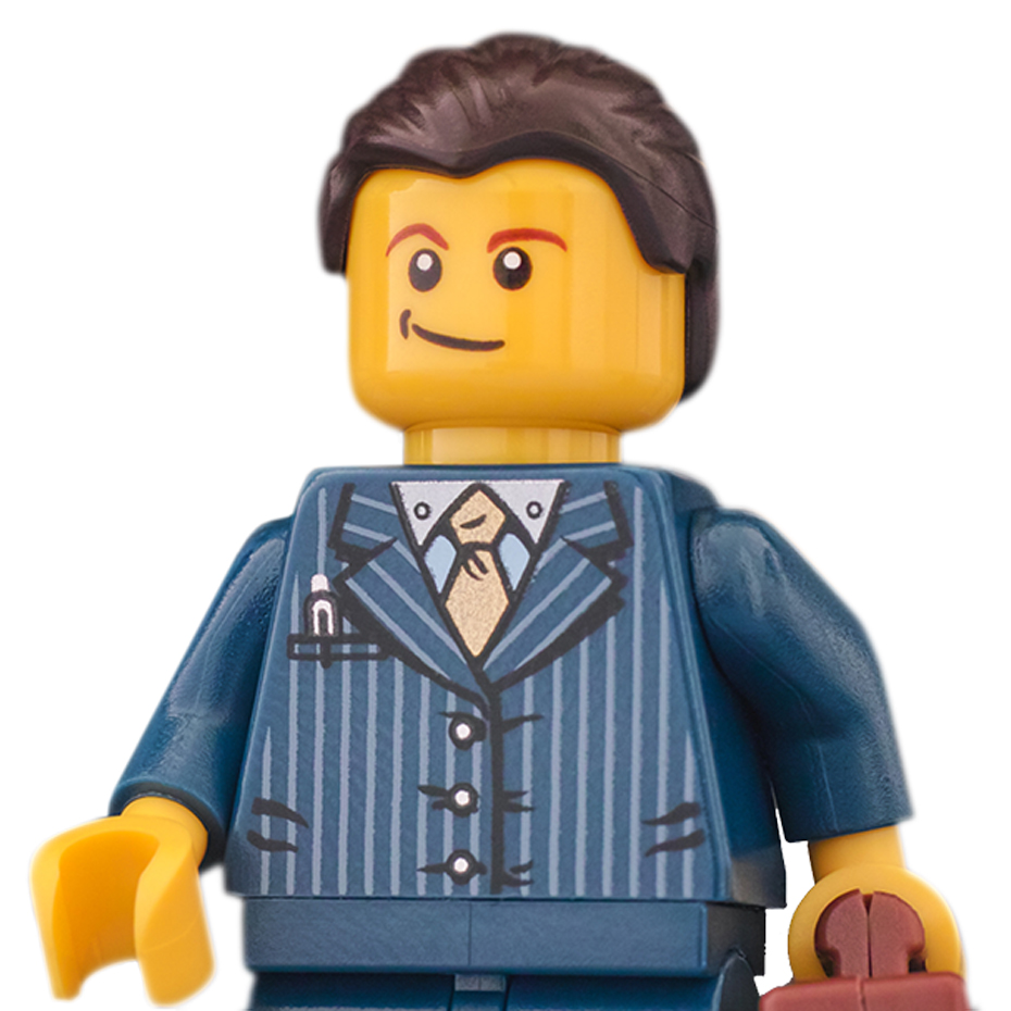Lego guy with pin stripe suit